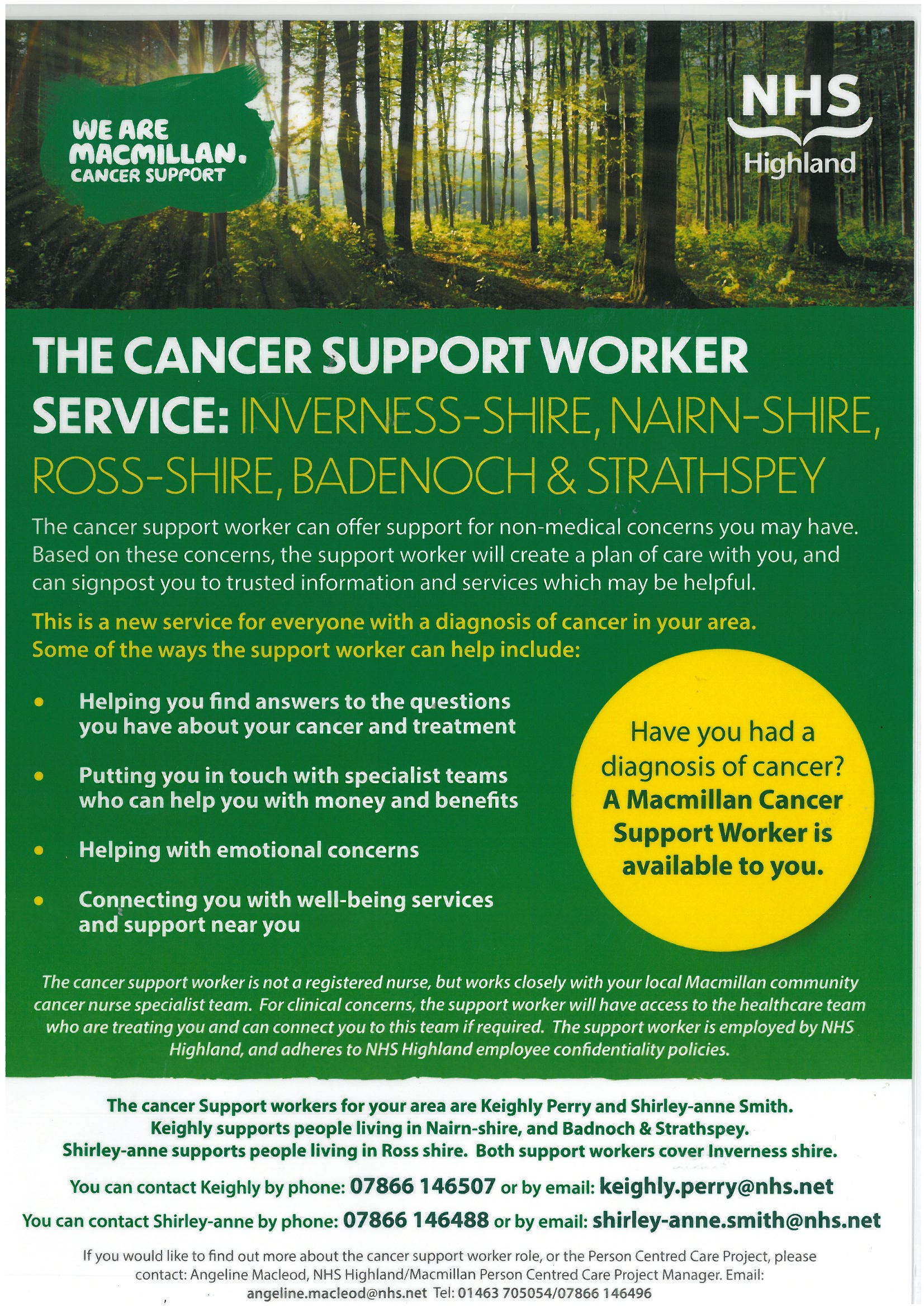 The Cancer Support Worker Service Poster